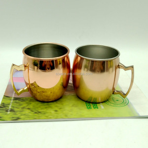 Stainless Steel Mug With Cooper Single Wall Moscow Mule Mug With Handle Copper Moscow Mule Mug