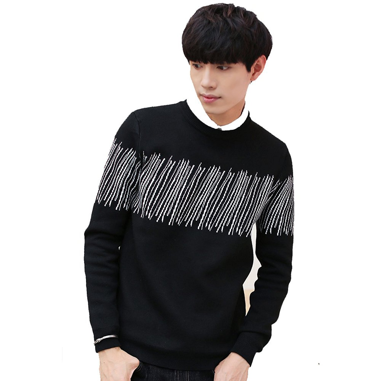 Get Quotations · dichuan Mens Loose Ribbed Round Neck Pullover Sweater  Striped Stitching Sweater fe7529ee2