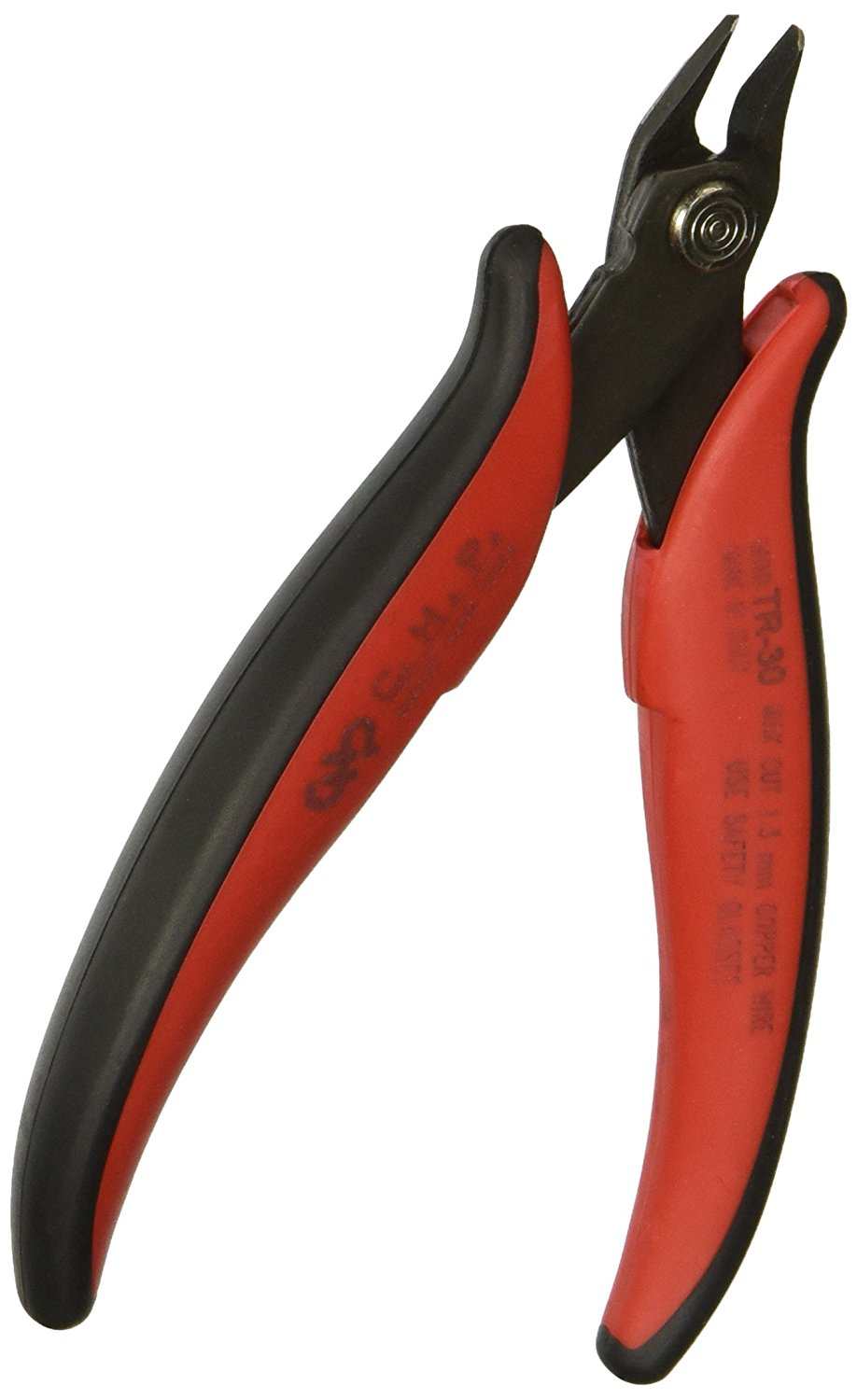 Hakko CHP TR-30 Medium Soft Wire Cutter, Flush-cut, 3.0mm Hardened Carbon Steel Construction, 21-Degree Angled Jaw, 8mm Jaw Length, 16 Gauge Maximum Cutting Capacity