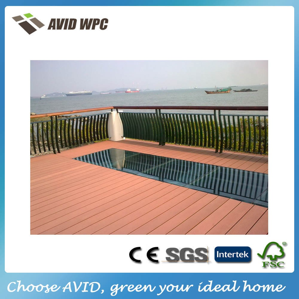 Low maintanance black wood plastic composite board for Low price decking