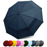 Windproof Double Canopy Construction Auto Open Close Button Compact Travel Umbrella