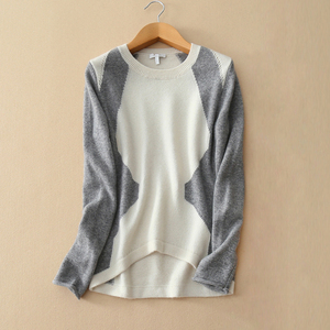 Women's sweater fashion contrast colors pullover sweater O neck irregular hem cashmere knitting patch work sweaters