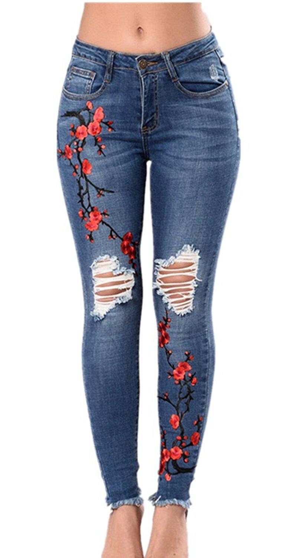 82ba2ba7fe6 LHAYY Women's Denim Rose Embroidered Destroyed Frayed Hem Skinny Jeans  Frayed Hem Skinny Jeans