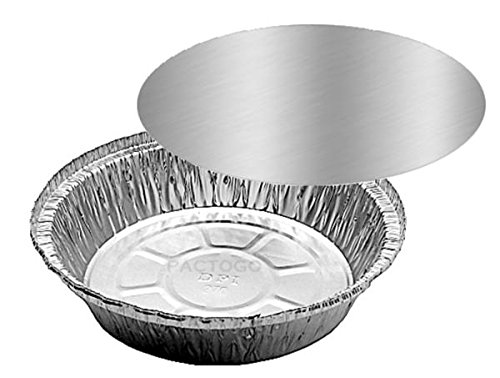 """HandiFoil 7"""" TakeOut To-Go Round Disposable Aluminum Foil Pan sets with Flat Board Lids, 50 Count, 7 1/8""""x 7 1/8"""" x 1 1/2"""" deep"""