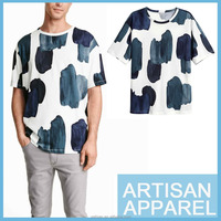 wholesale 2016 in trend streetwear o-neck 100% cotton casual men's T-shirt with water printing allover OEM service