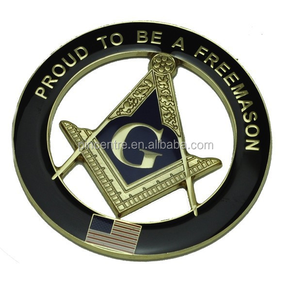 pround to be a Freemason masonic car badges emblems with USA flag