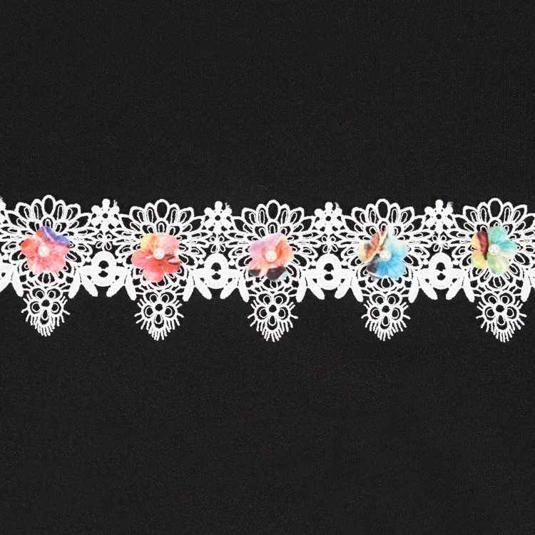 Good quality black eyelet lace flower trim manufacturer