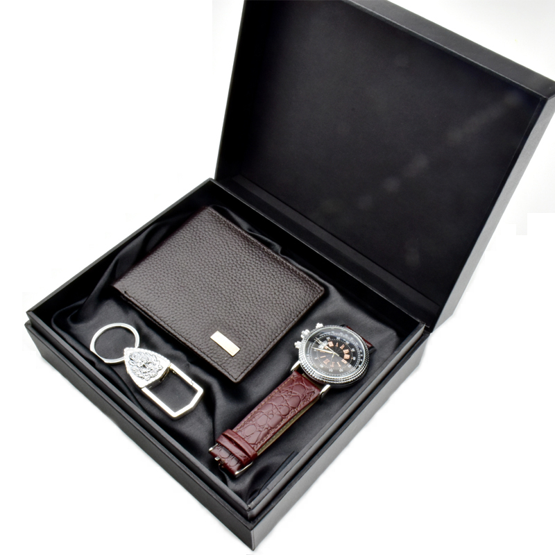 High quality wholesale promotion gift luxury custom PU leather wallet and keychain classical business man gift set