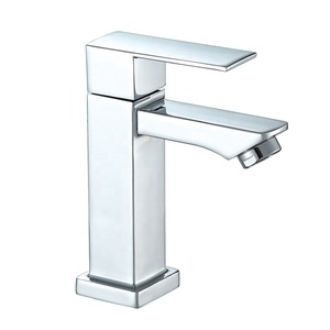 Deck mounted square design cold water wash basin faucet bathroom tap