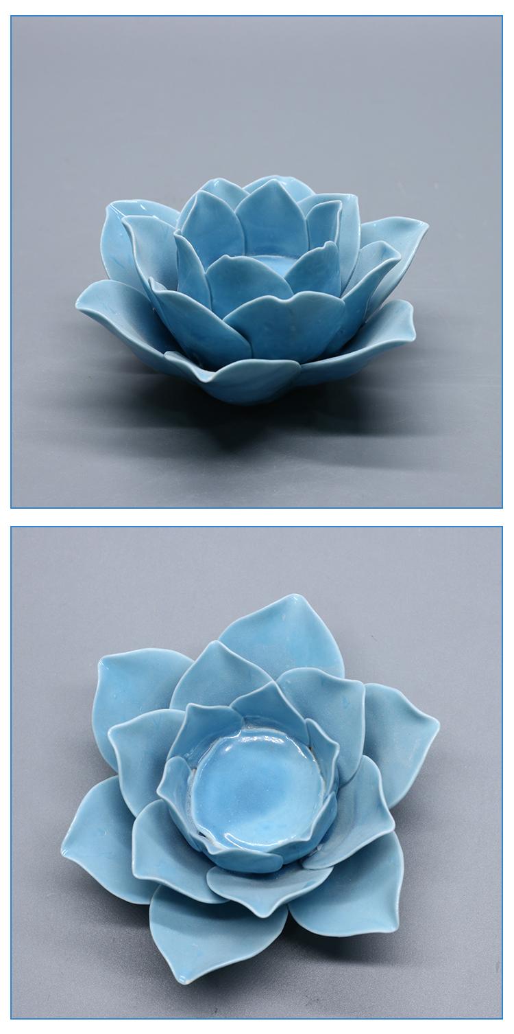 Blue decoration ceramic lotus flower modern candle holder buy lotus flower candle holder wholesale izmirmasajfo