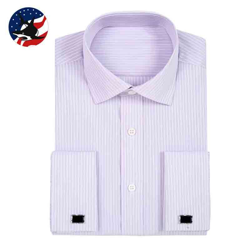 Buy French Cuff Shirt 2015 Big Size Mens Purple Striped