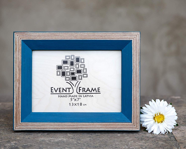 Blue Picture Frame, Original Double Color Design, Wooden Handmade Picture Photo Frame, Sizes 4x4, 4x6, 5x7, 5x5, 6x8, 6x6, 8x8, 8x10, 8x12, 11x14, etc,