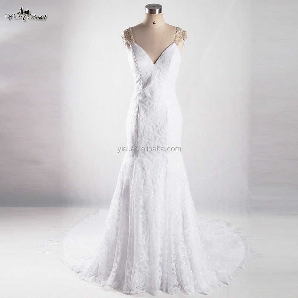 RSW922 Sexy Transparent Back Bling White Guipure Lace Mermaid Wedding Dresses