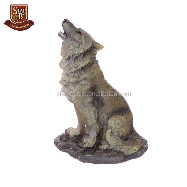 Large Size Decorative Resin Wolf Standing on Rocks Figurine Statue
