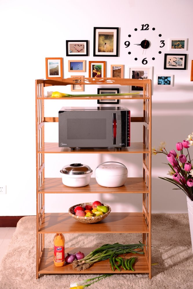 5-Tier microwave oven stand/bamboo drying rack Kitchen Accessories Simple Bamboo Microwave Oven Rack