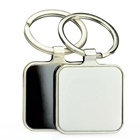Custom cheap metal blank laser engraving square keychain with box