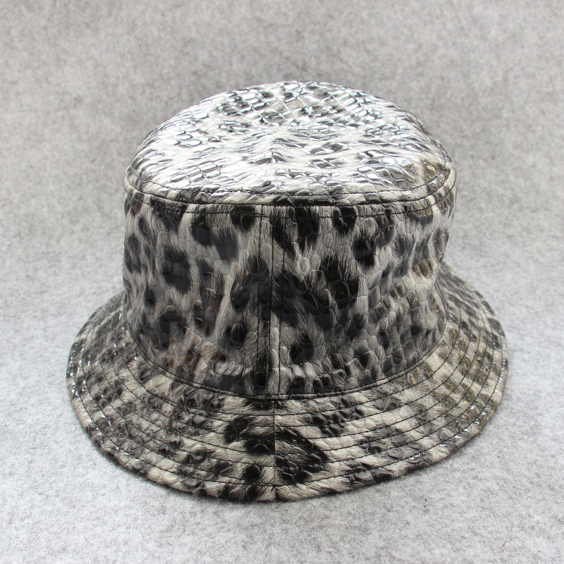 Custom Leather Camo Bucket Hat With Satin Lining Wholesale