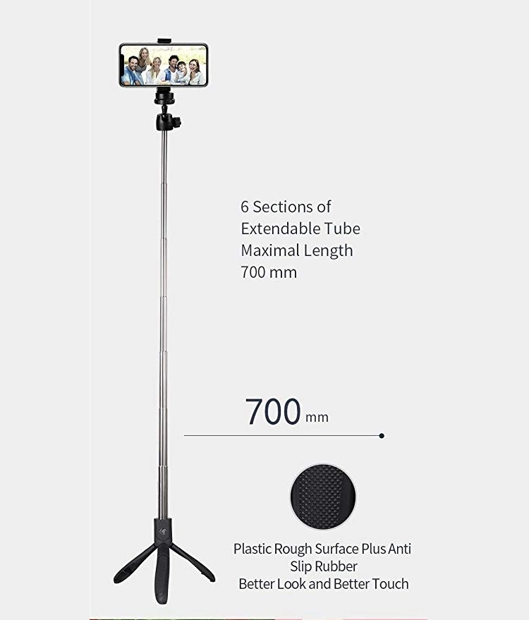 2019 Hot Sell Factory Price New Bluetooth remote control Selfie Stick Tripod for Smartphone