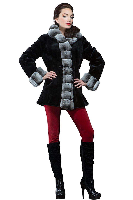 EM-EL Women's Black Sheared Mink and Chinchilla Reversible Fur Jacket