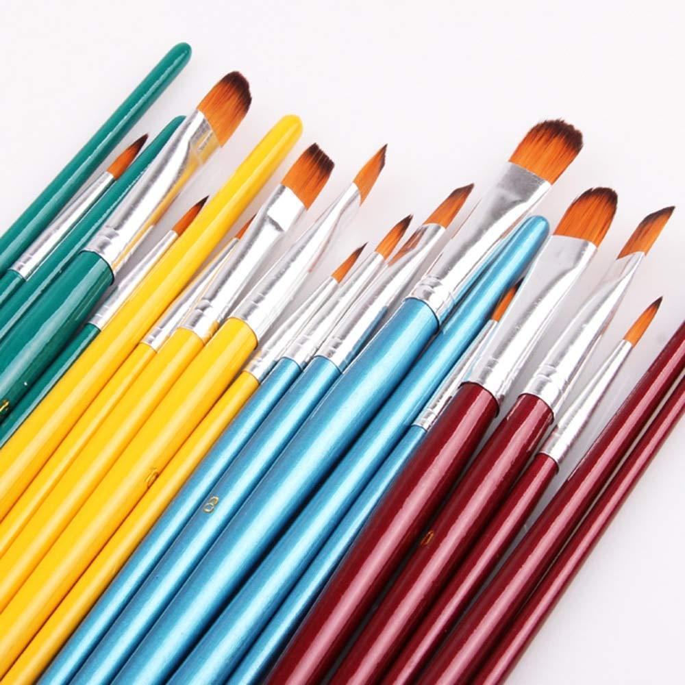 Mustwell 5Pcs Paint Brushes Set Nylon Hair Painting Brush Variety Style Short Rod Oil wood Brush Watercolor Pen Art Supplies