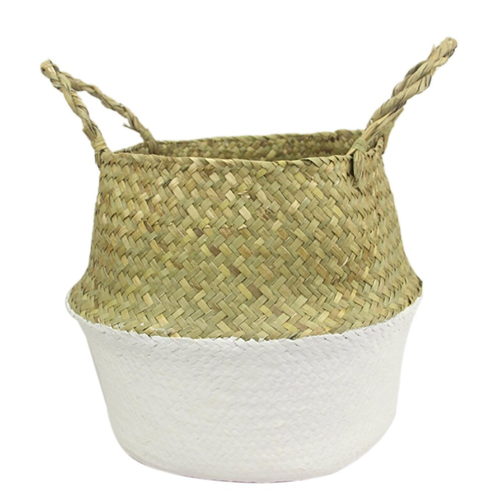 """Tracfy Natural Seagrass Belly Basket with Handles, Woven Dirty Laundry Basket Storage Basket Rattan Foldable Hanging Flower Pot Planter Home Decor Basket(10.62"""" Diameter x 9.44"""" Height, White)"""