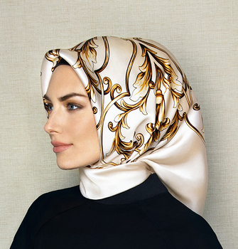 Low MOQ turish printed hijab muslim women head satin scarf