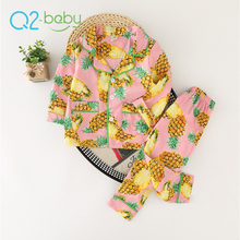 Q2-baby Bulk Items Cheap Girls Children Pineapple Design Shirts Long Pants Pajamas Set
