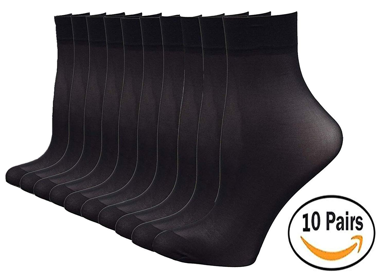 14cdc81f0 Get Quotations · Sunland Ankle High Nylon Socks Women's Hosiery Sheer Socks  10 Pairs