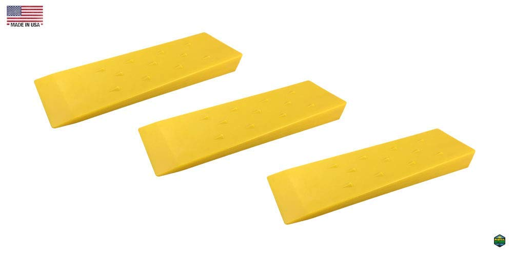 """Parts 4 Outdoor Set of 3 Tree Felling falling Wedges Yellow 10"""" ABS Logging Wedge"""