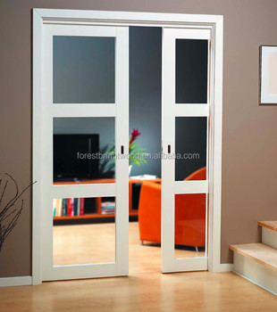 Frosted Glass White Pocket Door Design For Bathroom