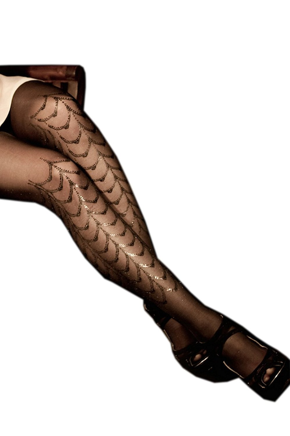 c52bf5741ae64 Get Quotations · Stern Tights Cabaret Print Design Sheer Black & Black  Tights Full Stockings