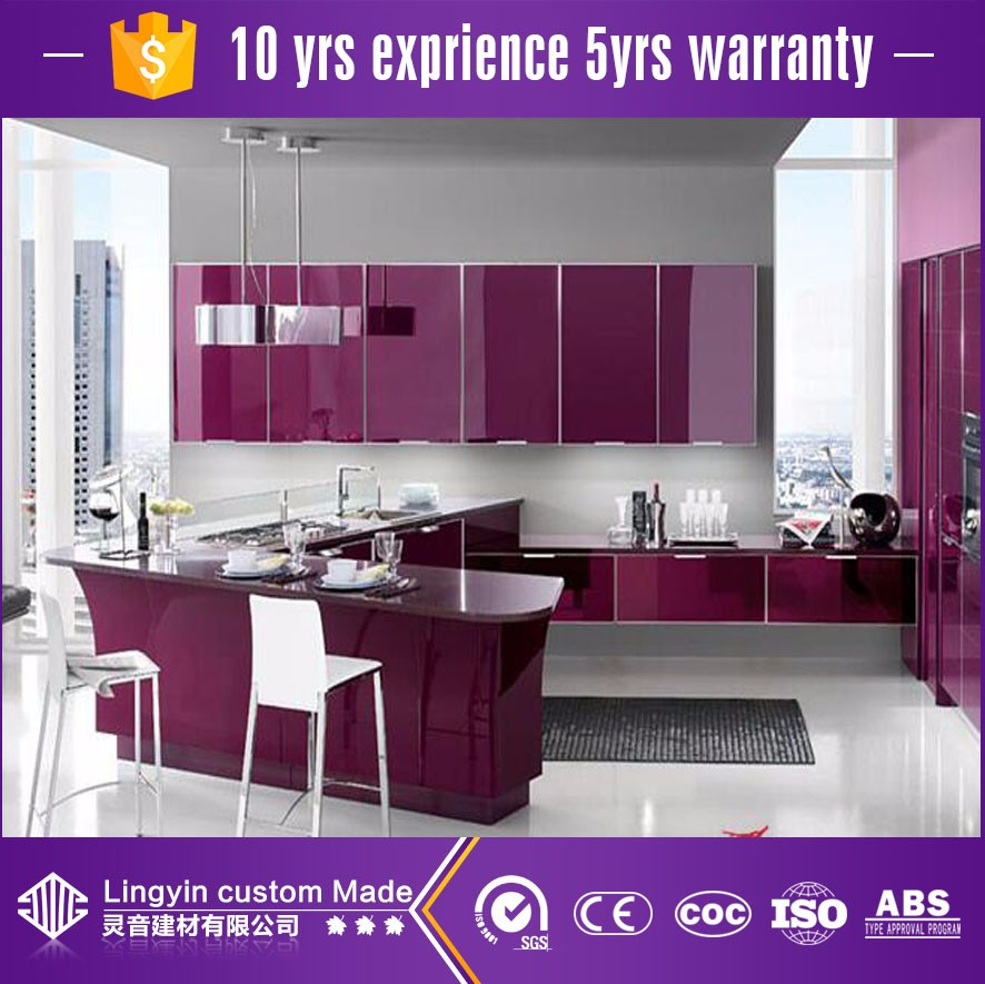 Warna Ungu Kabinet Aluminium Desain Dapur