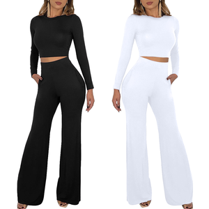 2355 long top flared leg pants two pieces set winter jumpsuits for women