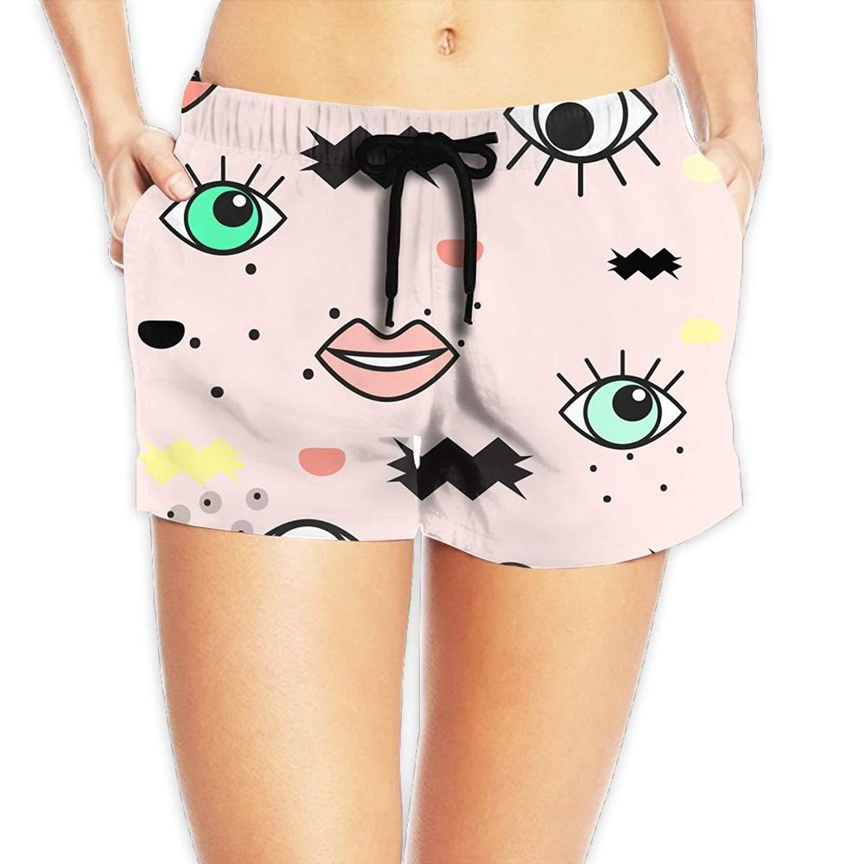 4859f58d3b Get Quotations · Kurabam Beach Shorts, Eyes Pink Beach Wear Shorts for  Women Girls, Outdoor Short Pants