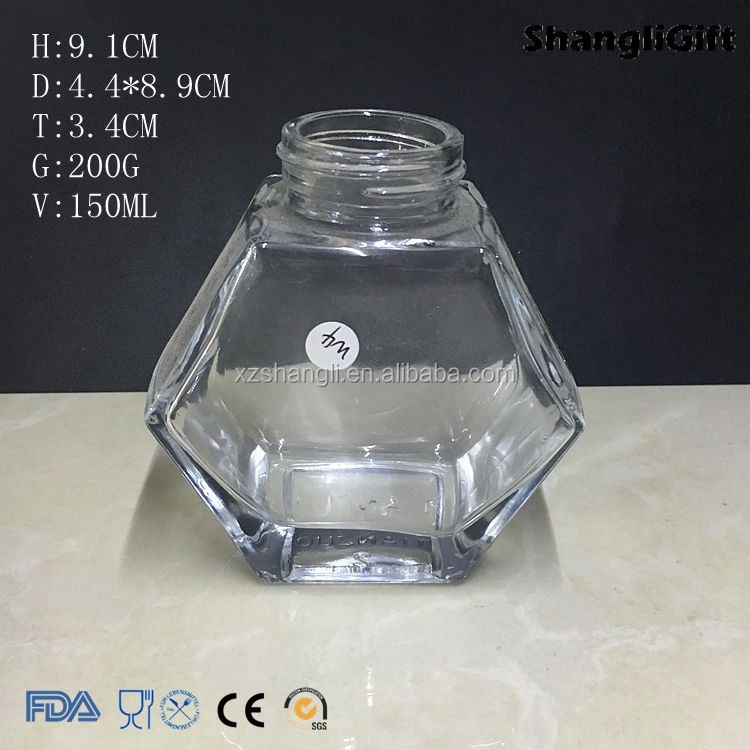 pentagon glass honey bee storage jar with plastic lid 400ml 150ml 50ml