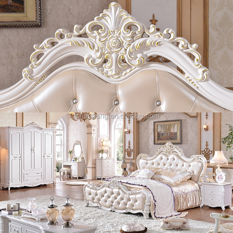 Luxury Antique Home Wooden Carved King Size Bedroom Furniture