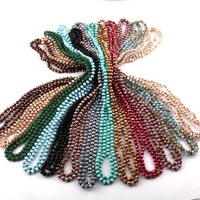 Fashion Cute Mini 6mm Crystal Glass beads Necklace 145-150cm long knotted 29 Color Women necklace