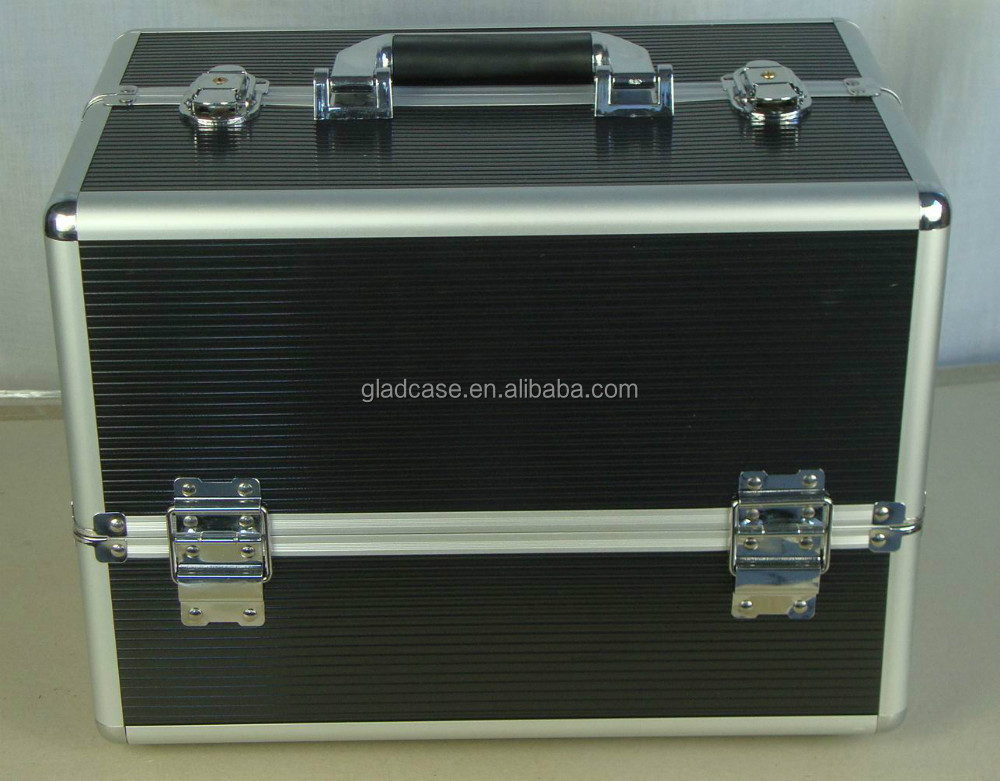 SB12105 high quality black makeup case with trays and dividers