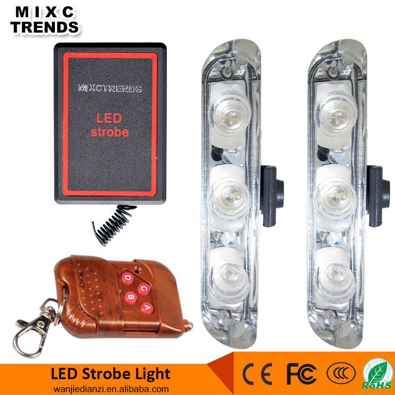 Wireless Remote Controller 6W 12V RED Blue Amber LED Flasher Car Motorcycle LED Strobe Warning Light