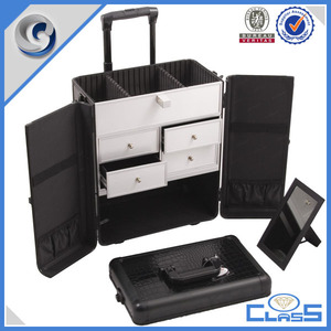 customed senior aluminum cosmetic storage case trolley make up case with drawers