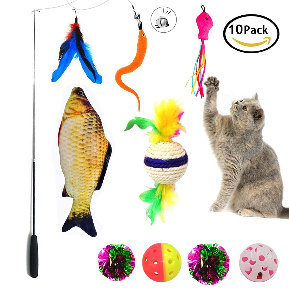 Cat Toy Interactive Puppy Cat Feather Toy Teaser Wand 10 Packs Set ,Cat Toy Crinkle Balls and Mint Fish Catnip Toy Balls For Kitty, Kitten