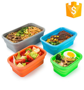 BPA Free Foldable Fruits Dishes Storage With Lids Silicone Collapsible Food Storage Containers Set Of 4