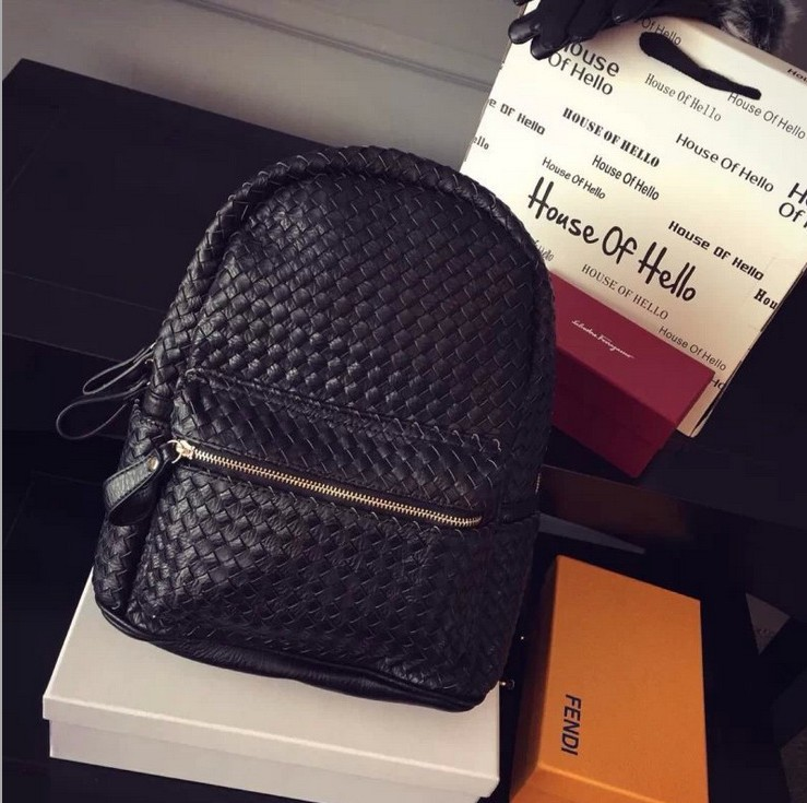 K03243 2015bvs Fashion women s genuine leather backpack backbag hot selling  woven pu leather women bag Women 10449c19ea0
