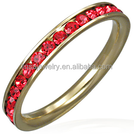 New arrival stone jewelry women spikes stainless steel ring Red crystal diamond jewelry JDR121