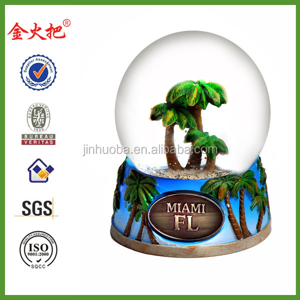 Miami city souvenir snow globe