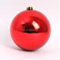 Promotional shiny 30cm giant plastic Xmas ornament, Red Green and Gold Christmas Ornament