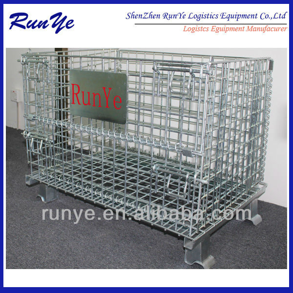 Collapsible Stackable Material Storage Steel Wire Mesh Container Used in the production line
