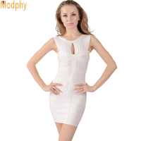 Sexy Women's Black White Open Front Cut Hollow Out Bandage Prom Dress Celebrity Party Sleeveless Prom Elastic HL0831-1