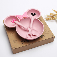 Kids Plates Products Supply Household Kitchen Tool Health Eco Friendly Cute Dish Tray Tableware Wheat Straw Mouse Children Bowl