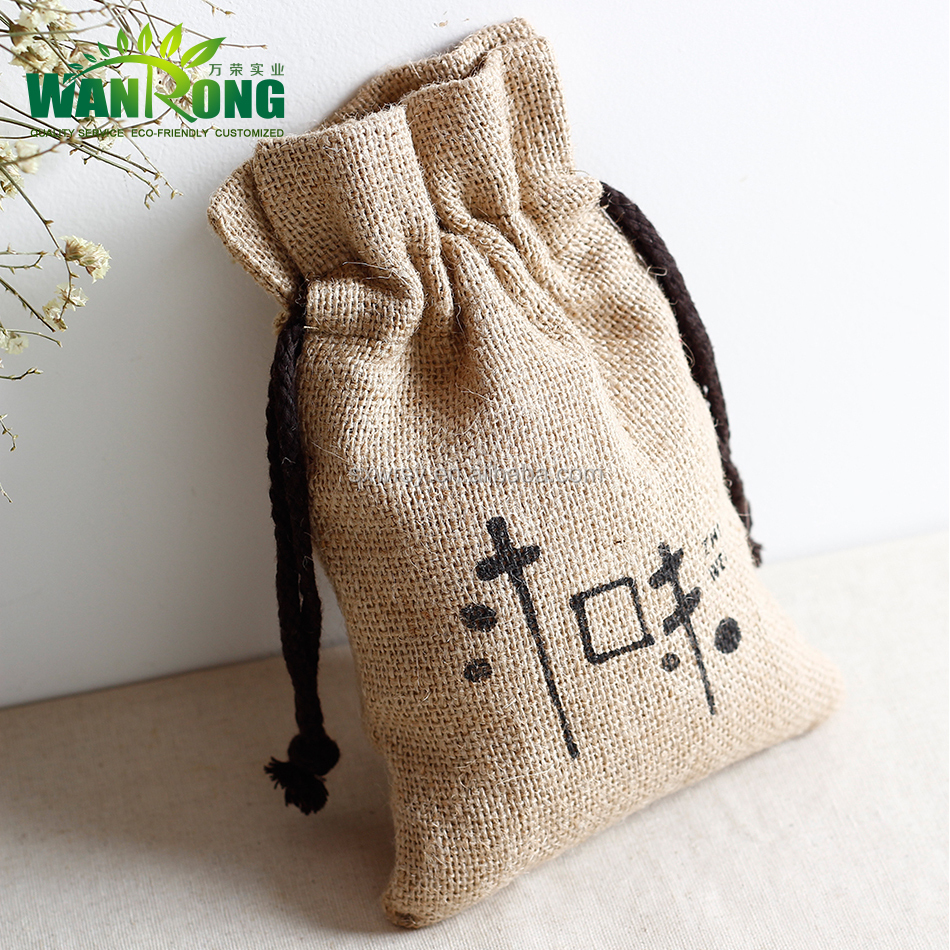 Natural fabric eco friendly free sample drawstring burlap bags